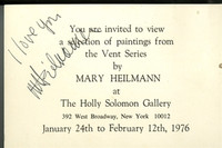 Mary Heilmann and Jene Highstein: RARE Signed & Dedicated Invitation Cards to Holly Solomon Gallery Exhibitions, 1976