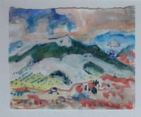 Easthampton Artist SUZETTE ALSOP JONES, Landscape watercolor painting, signed, framed