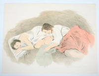 "Raphael Soyer, ""Adolescents"", Lithograph, from ""Conspiracy: The Artist as Witness"", Signed/N 1971"
