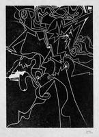 Robert Müller, Rare Woodcut, Signed/N, Swiss Arts Portfolio, 1975