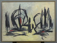 Phillip B. Leavitt, Abstract Expressionist Painting, 1965, Signed, National Academy Galleries Label