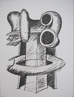 "Abstract Expressionist Sculptor Seymour Lipton, ""Oracle: Study for Clairvoyant"", Signed/N Lithograph, 1969"