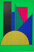 "British American Sixties Pop Artist Derek Boshier Silkscreen, ""One"", Hand signed/N (Boshier was a classmate of David Hockney and R.B. Kitaj)"