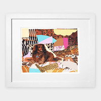 Mickalene Thomas Portrait de Priscilla Le Petit Chien, 2012, Framed, Limited Edition Hand Numbered Archival Pigment Print