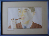 "Alex Katz ""Man with Pipe"", Etching / Engraving Aquatint, 1984, Signed/N, Framed"