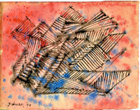 Dorothy Dehner Watercolor Hand Signed and Dated 1949, Rare Unique Mid Century Modern Art Abstract Expressionist