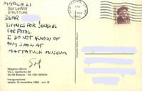 Sol Lewitt Handwritten, hand signed addressed, postmarked postcard, 1990