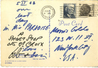 Robert Indiana, handwritten and signed postcard to famous art patron, 1968