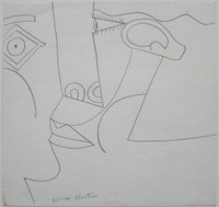 """Original Knox Martin Drawing, """"The Embrace"""", Signed"""
