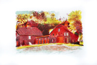 Wolf Kahn Lithograph, Red Barns, 1980, Rare Edition of only 6 (Signed, Numbered)