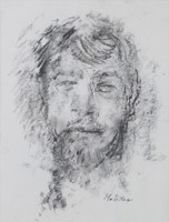JOHN HELIKER Self Portrait, drawing on paper, framed with Kraushaar Gallery Label verso