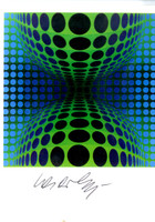 "VICTOR VASARELY, ""Ond"",  Rare Hand Signed Card"