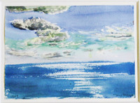 Jane Wilson (1924 - 2014) QE2, 10 AM, Watercolor Painting, signed w/Fischbach Gallery Label, 1977