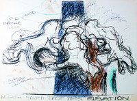 Lynda Benglis, North South East West Elevation, Study for Sculpture, Rare Lithograph, Signed/N , 1979, Landfall Press