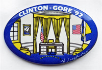 ROY LICHTENSTEIN Oval Office for Clinton-Gore Political Campaign Button, 1992, Plate Signed