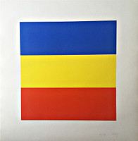ELLSWORTH KELLY, BLUE/YELLOW/RED, Silkscreen, 1970s., Signed Lt Ed Color silkscreen on Strathmore Fairfield Opaque Number 8 paper (Signed, numbered and dated in pencil) Unframed