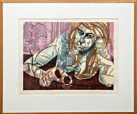 DAVID SALLE, Woodcut Portrait from Fred Snitzer Collection (Framed), 1987