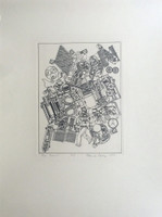 EDUARDO PAOLOZZI, RARE Lithograph with personal dedication to Frank Martin, legendary head of sculpture department at St. Martin's School of Art, 1980
