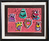 KENNY SCHARF, Unique Original Double Sided Mixed Media Drawing with Personal Dedication to Baird Jones, 1998
