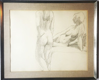 Philip Pearlstein, Untitled drawing of two nudes, 1967