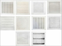 AGNES MARTIN SUITE OF TEN (10) SEPARATE LIMITED EDITION LITHOGRAPHS ON VELLUM FROM STEDELIJK MUSEUM, 1990- BRAND NEW MINT CONDITION NEVER OPENED -- RARE!!