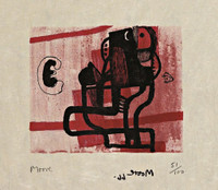 Henry Moore, BLACK FIGURE ON PINK BACKGROUND (Cramer, 96), 1966