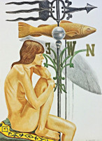Philip Pearlstein, NUDE (DESIREE) WITH FISH, BANNER AND WEATHERVANE, 2010