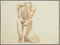 Philip Pearlstein,  Untitled Male Nude Sepia Drawing, 1968