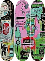 Jean-Michel Basquiat, SCREENPRINTED SKATE DECK TRYPTICH (set of Three) Basquiat Estate Authorized, 2014