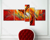 Red Abstract 5 Panel Group Art