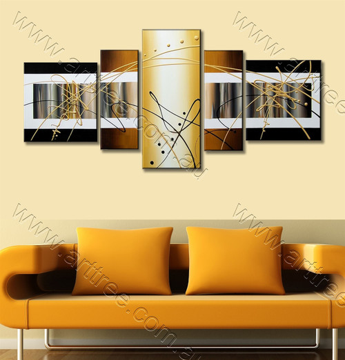 Yellow Panel Abstract Oil Painting