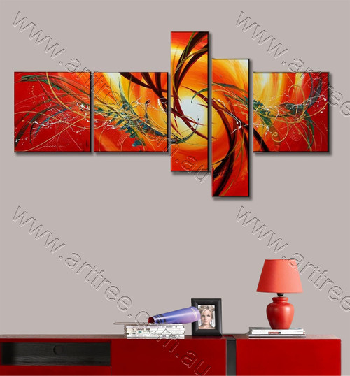 Red Abstract 5 Panel Painting