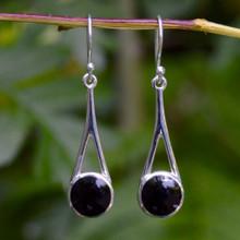 Whitby Jet silver wishbone earrings