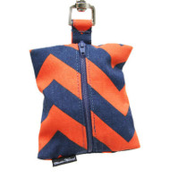 Dog Waste Bag Dispenser in Chevron Navy and Orange