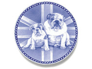 Bulldog Puppy Danish Blue Dog Plate- Sale