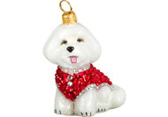 Bichon Frise Christmas Ornament Red Crystal Coat
