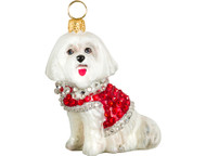 Maltese Christmas Ornament in Red Crystal Coat