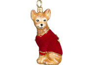 Chihuahua Glass Christmas Ornament Red Velvet Coat