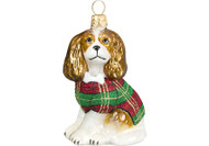Cavalier King Charles Glass Christmas Ornament Tartan Plaid Coat