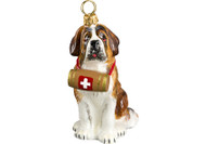Saint Bernard Christmas Ornament with Barrel