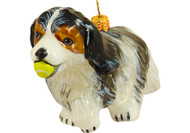 Cavalier King Charles Spaniel with Tennis Ball Glass Christmas Ornament (Tri Color)