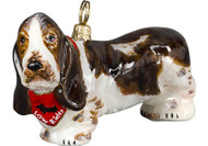 Basset Hound Glass Christmas Ornament (Standing with Bandana)