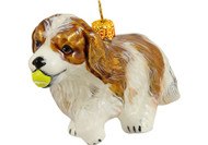 Cavalier King Charles Spaniel with Tennis Ball Glass Christmas Ornament