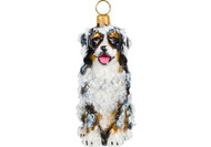 Bernese Mountain Dog Glass Christmas Ornament Snowy Version