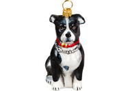 American Staffordshire Terrier Glass Christmas Ornament Black and White