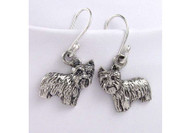 Sterling Silver Yorkie Puppy Earrings