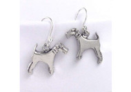 Sterling Silver Wire Fox Terrier Earrings