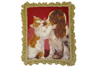 Cat Kissing a Dog Needlepoint Pillow
