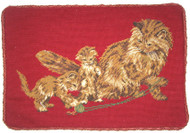 Cat Needlepoint Pillow (Brown Cats on Red)