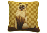 Cat Needlepoint Pillow (Gold Check)
